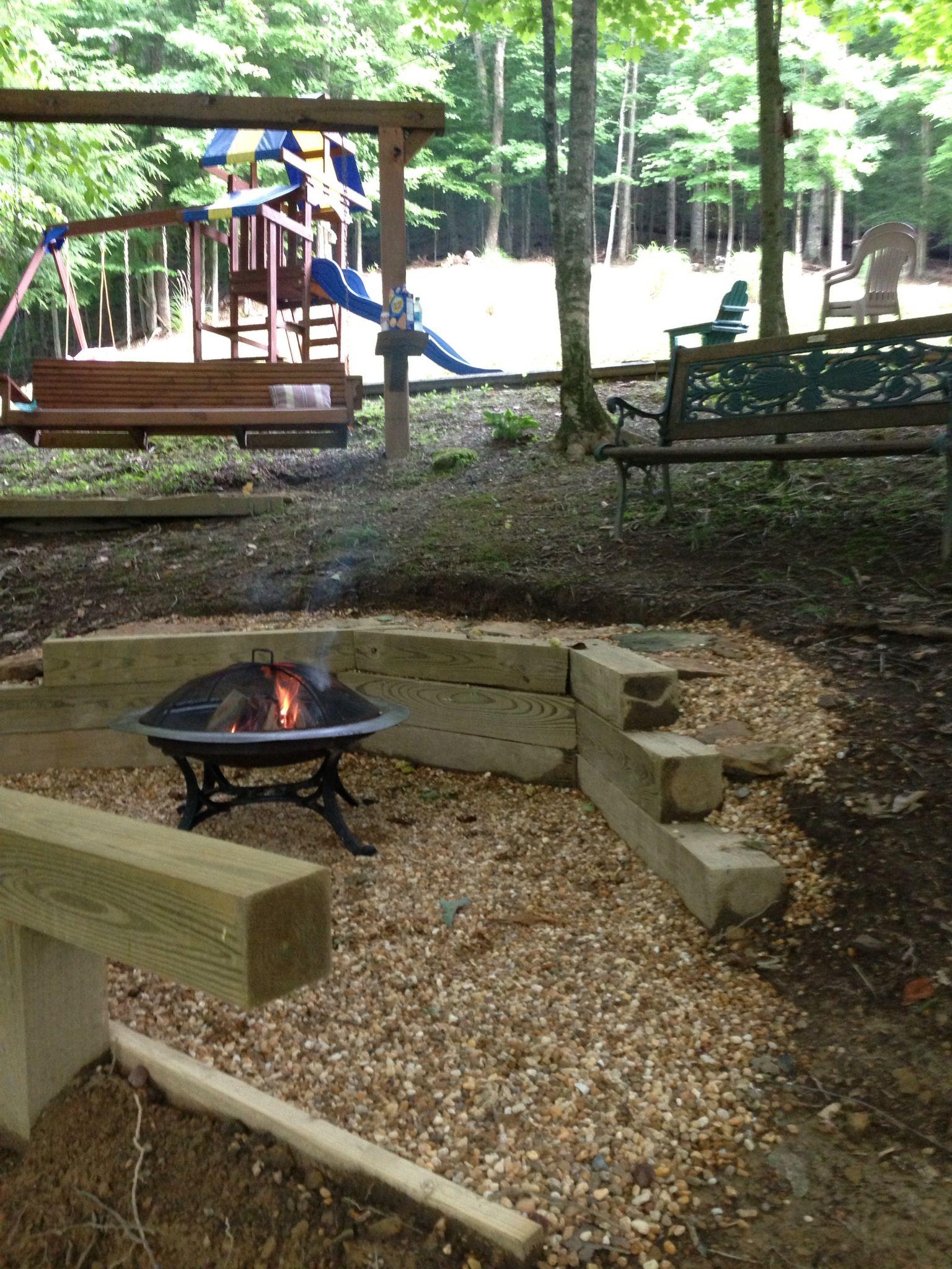 backyard fire pit into hillside idea think much bigger though
