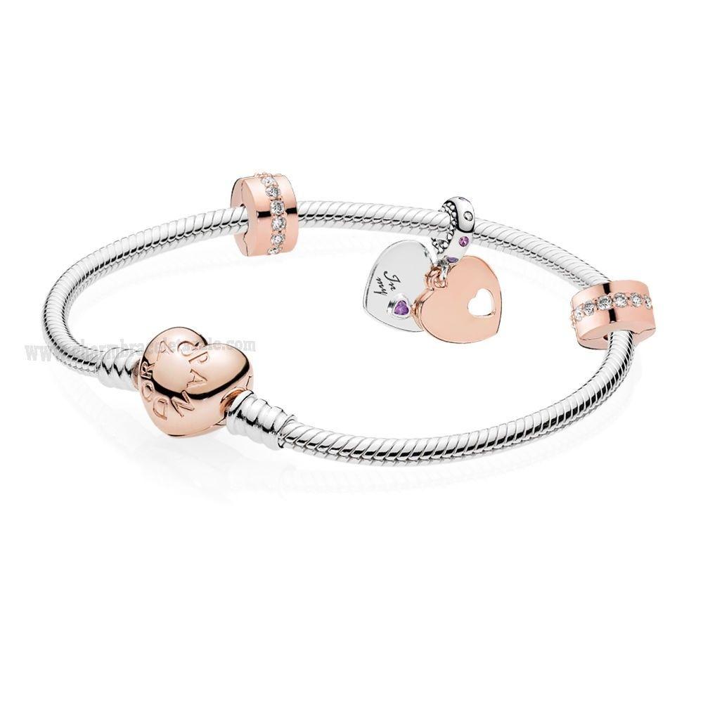 Upscale Jewelry PANDORA Rose Part of my Heart Bracelet Gift Set ...