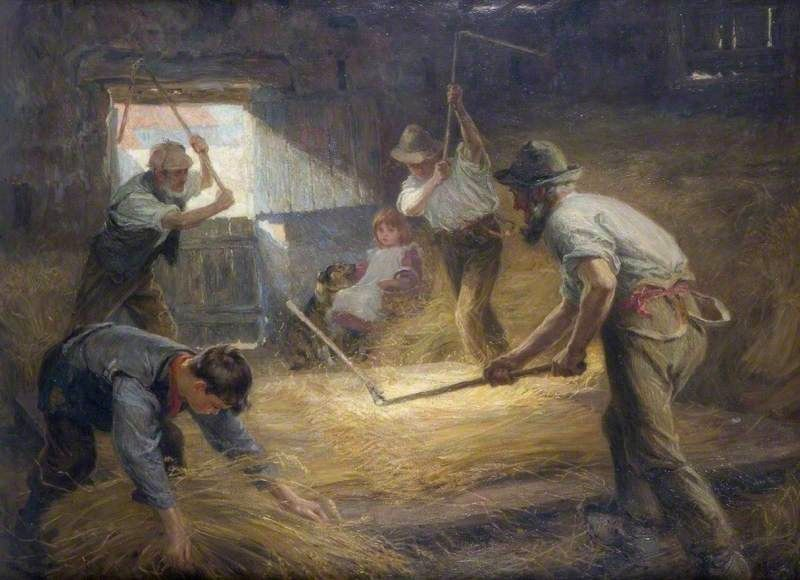 The Threshing Floor , By Ralph Hedley