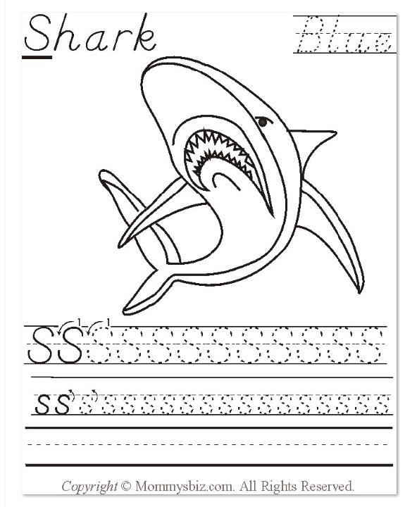 Mommysbiz S Shark Blue Preschool Worksheet by DanaHaynes