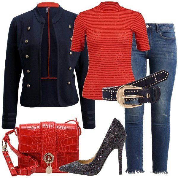 Giacca Blu Composto Collo Da Alla Trendy Militare Stile Outfit qzRItw6n