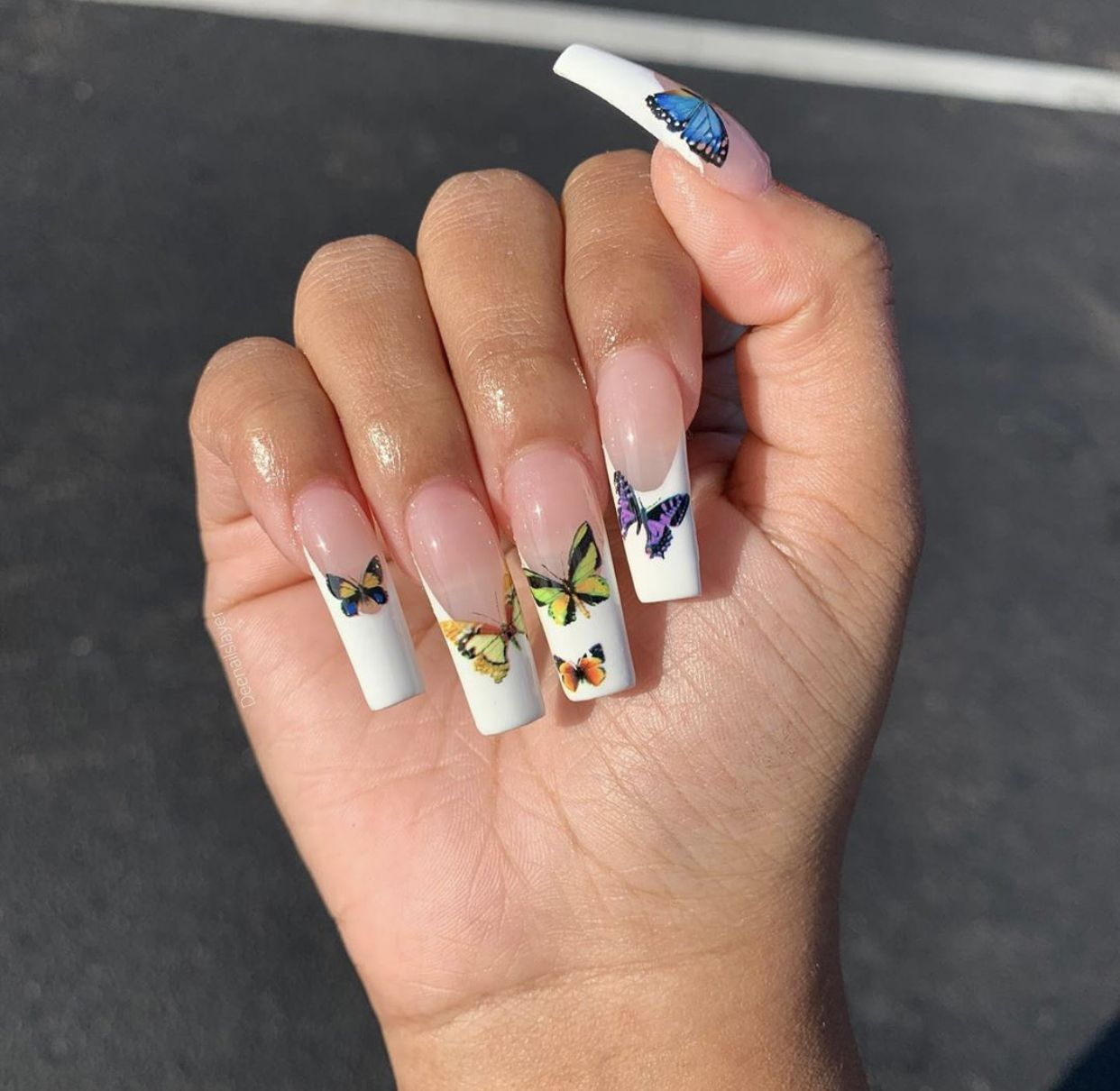 White Coffin French Tip Acrylic Butterfly Nails In 2020 French Tip Acrylic Nails Pretty Acrylic Nails Stylish Nails