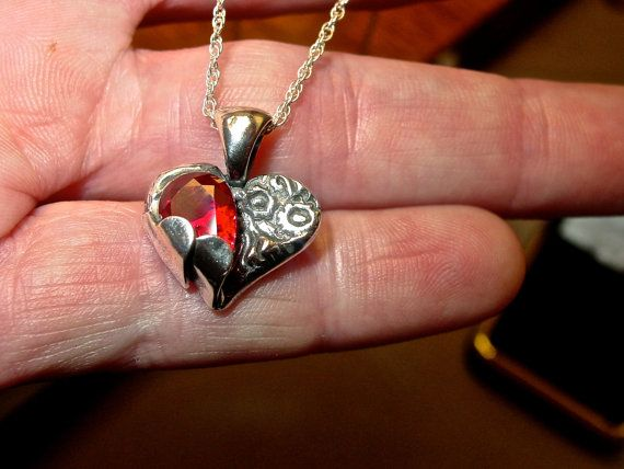 Hand crafted Ruby Heart Valentine's gift. Fine by AmyKJewels