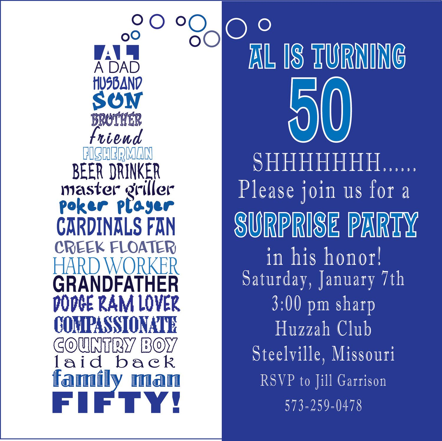 Awesome FREE Template Funny 50th Birthday Party Invitation Wording