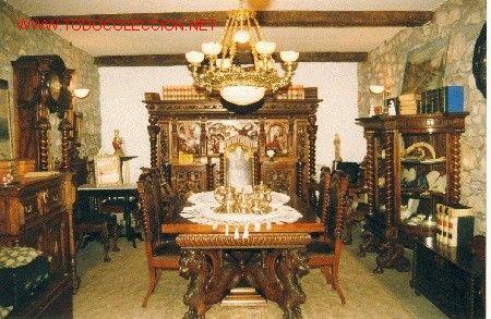 Comedor en madera de caoba cubana y nogal negro madera de caoba cubanas y comedores - Subasta de muebles antiguos ...