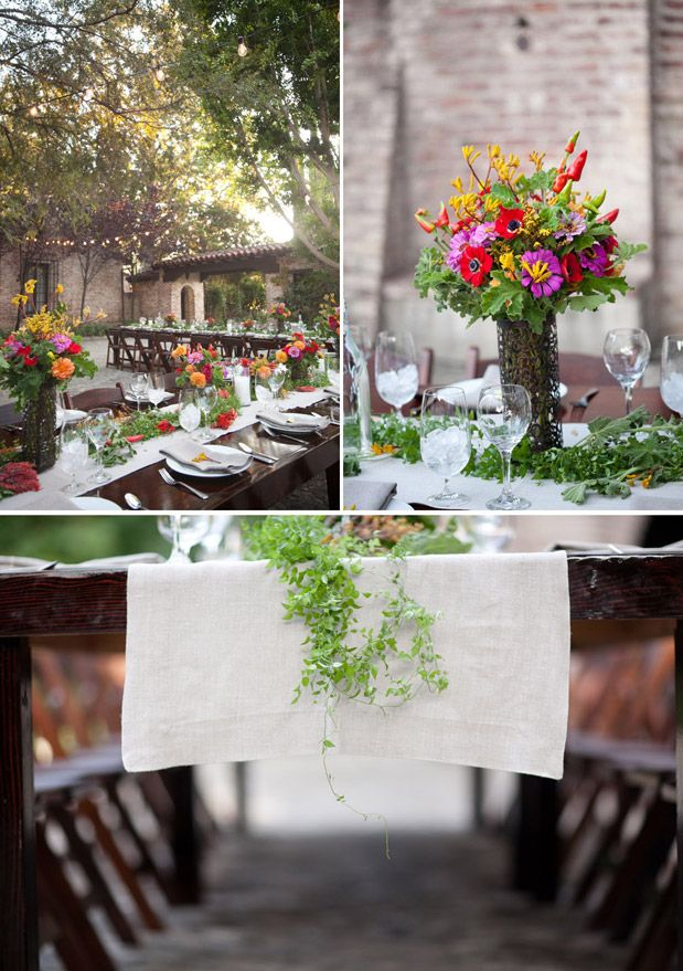 Summery Mix Of Flowers In A Beautifully Lit Outdoor Setting Rehearsaldinner
