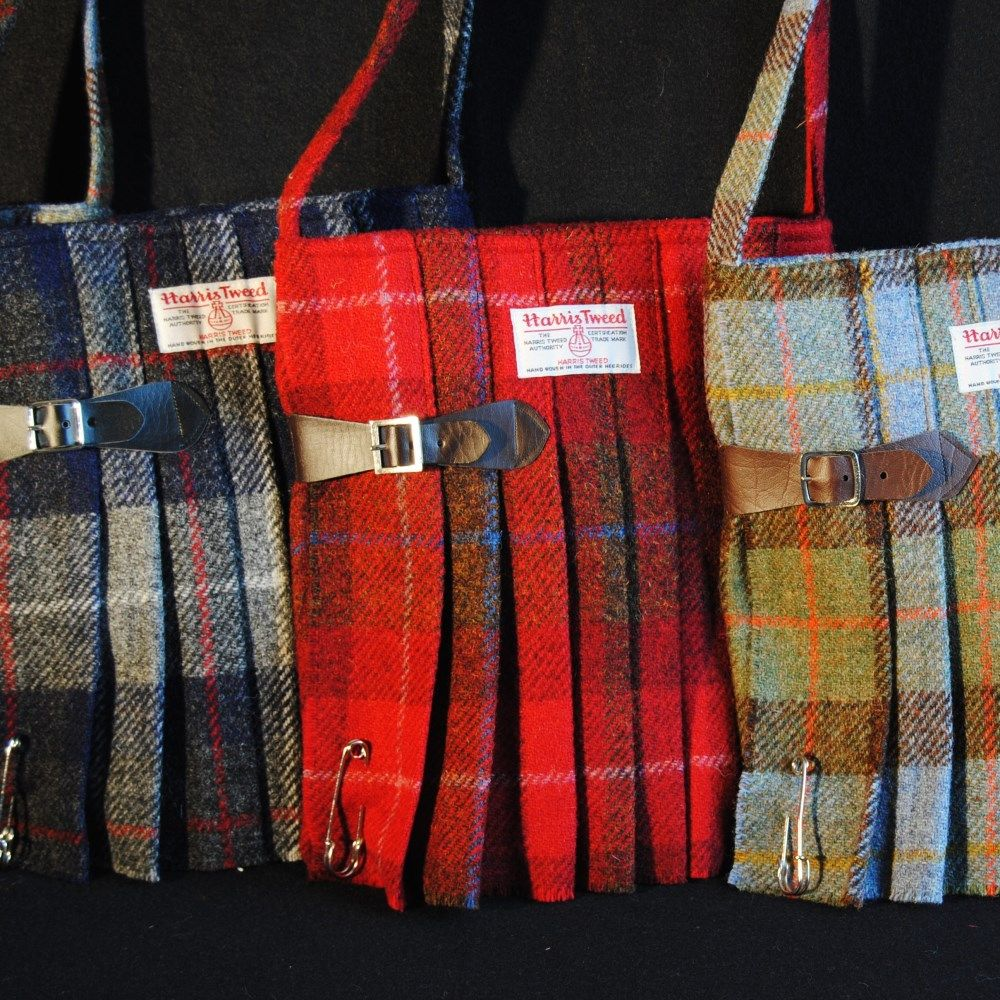 Red flannel backpack  Harris Tweed kilt bags made on Orkney Scotland  Purses and Bags