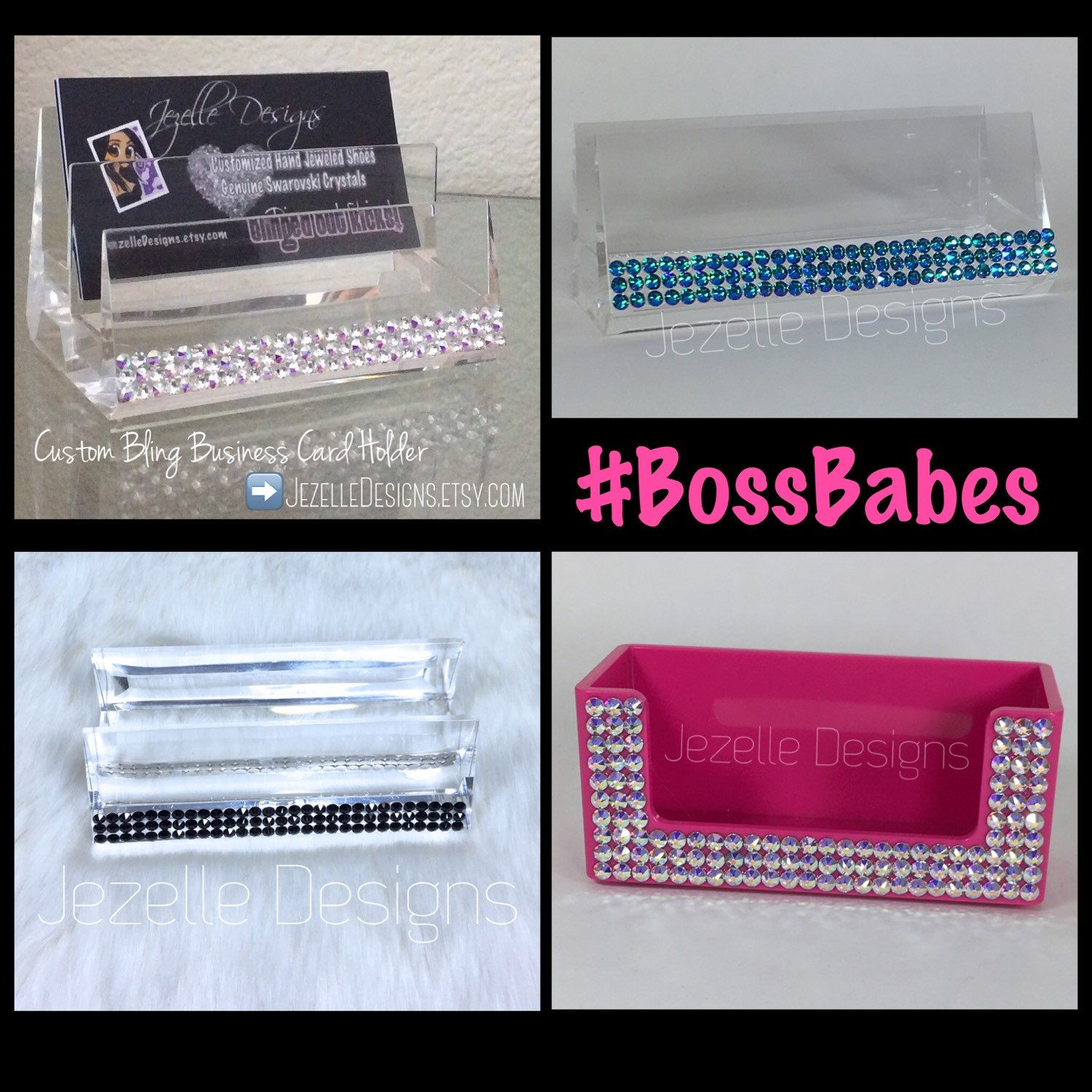 Swarovski business card holder custom hand jeweled acrylic clear swarovski crystal business card holders made just for you by jezelledesignssy bossbabes colourmoves