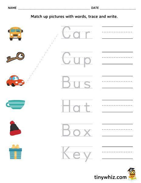 Free Printable Match, Trace, And Write Worksheet For Kids Pre K Worksheets,  Kindergarten Worksheets Printable, Letter Worksheets For Preschool
