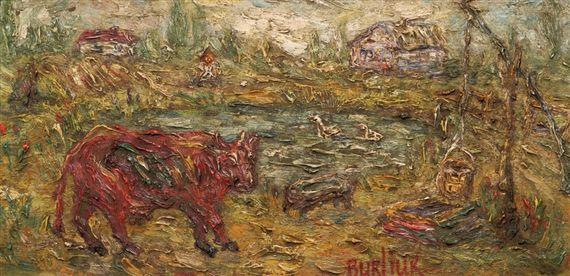 David Burliuk - Cow in a Landscape, Oil on wood