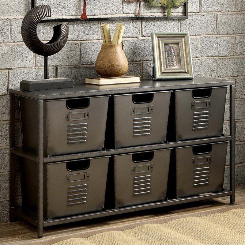 Furniture of America Ed Industrial Metal Storage Shelf with 6 Bins in Gunmetal - Walmart.com