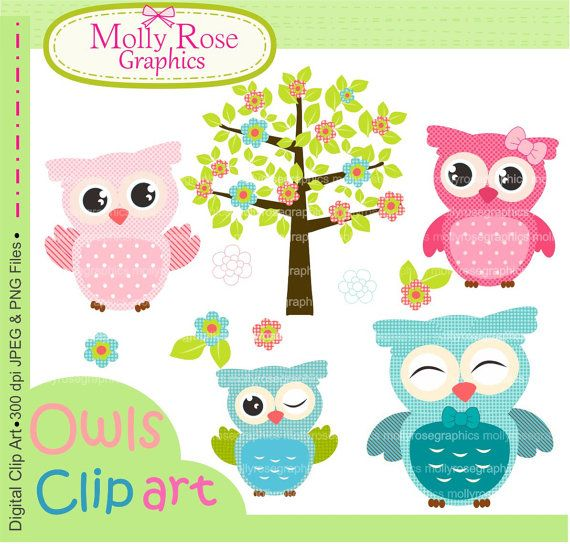 owls clip art , Digital Clip Art owls, Personal and Small Commercial Use, Invitations, Card Making, Scrapbooking M.36 INSTANT DOWNLOAD on Etsy, $4.00