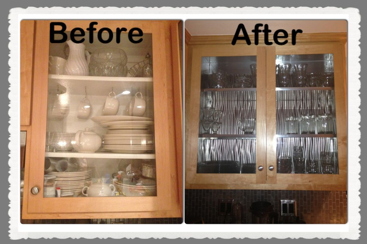 DIY stainless steel cabinet remodel. Covered the melamine ...