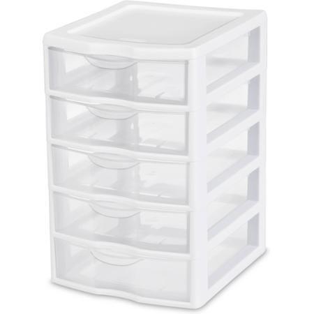 Sterilite Small 5 Drawer Unit White Available In Case Of 4 Or Single Unit Walmart Com Plastic Storage Cabinets Drawer Unit Plastic Storage Drawers