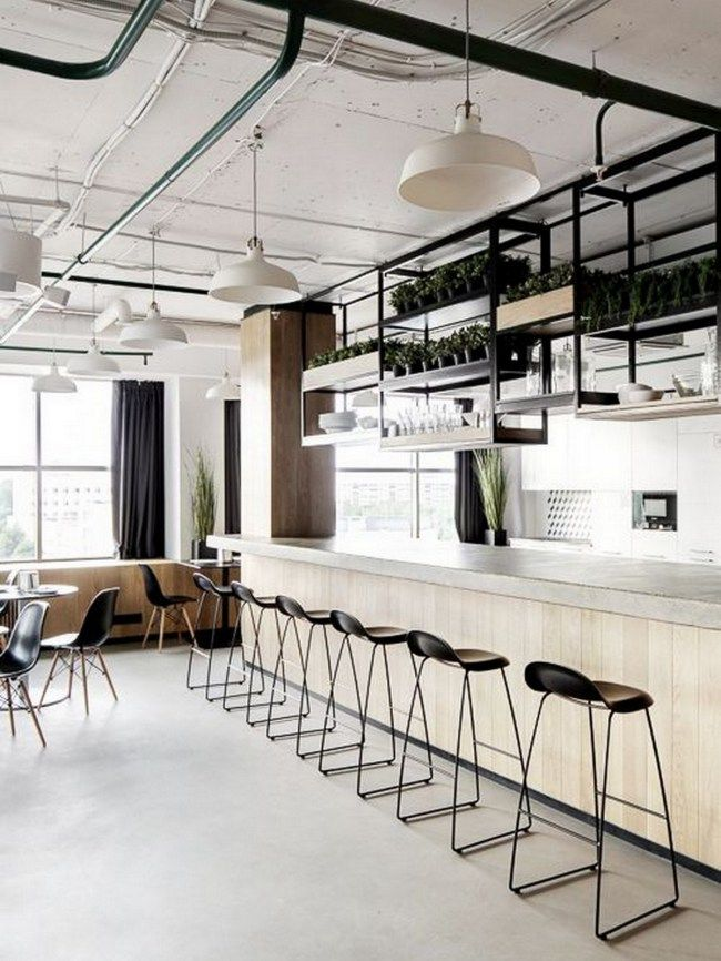 Modern Industrial Kitchen Restaurant Interior Cafe Interior Kitchen Office