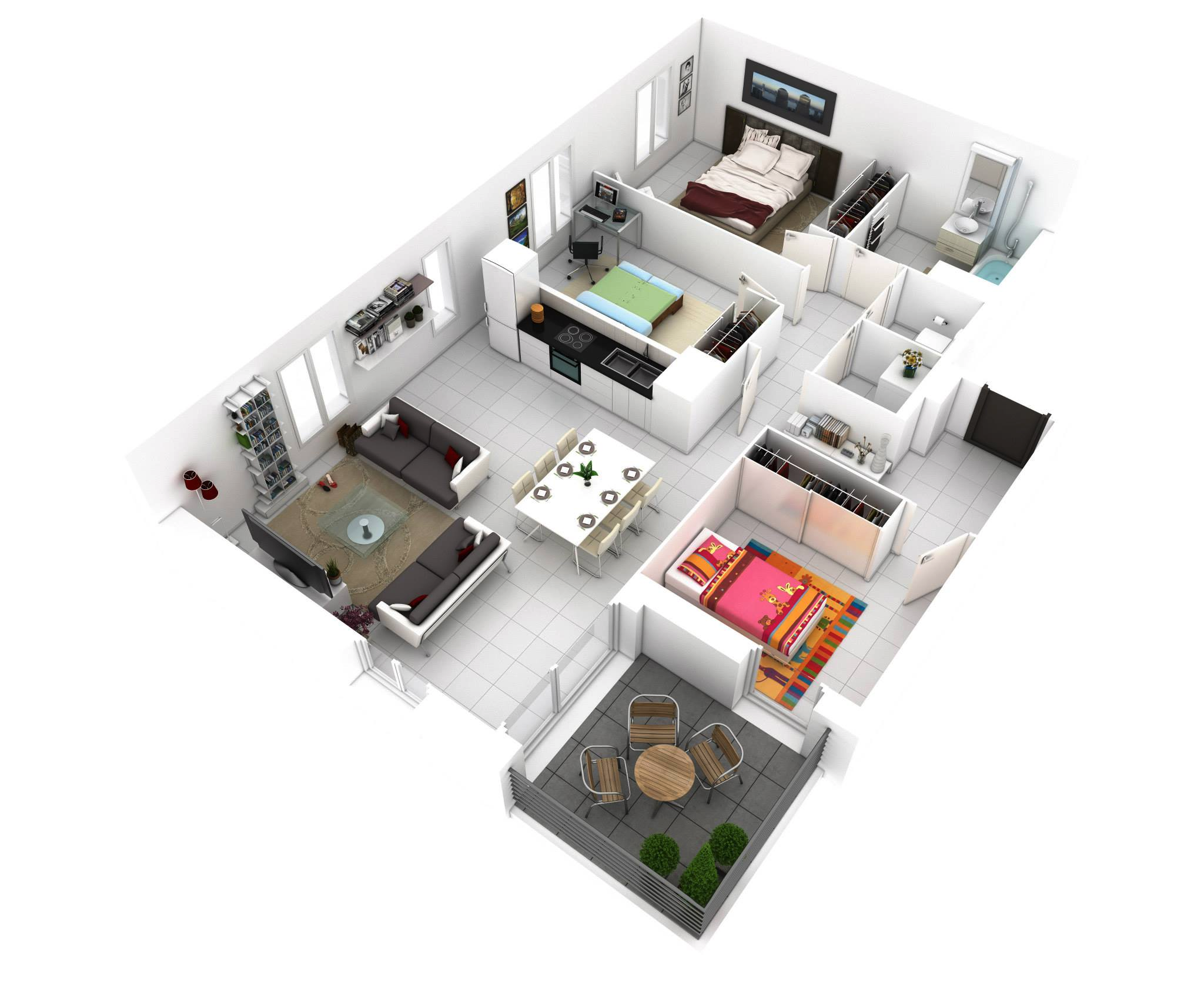 planos de casas modernas de 1 piso en 3d