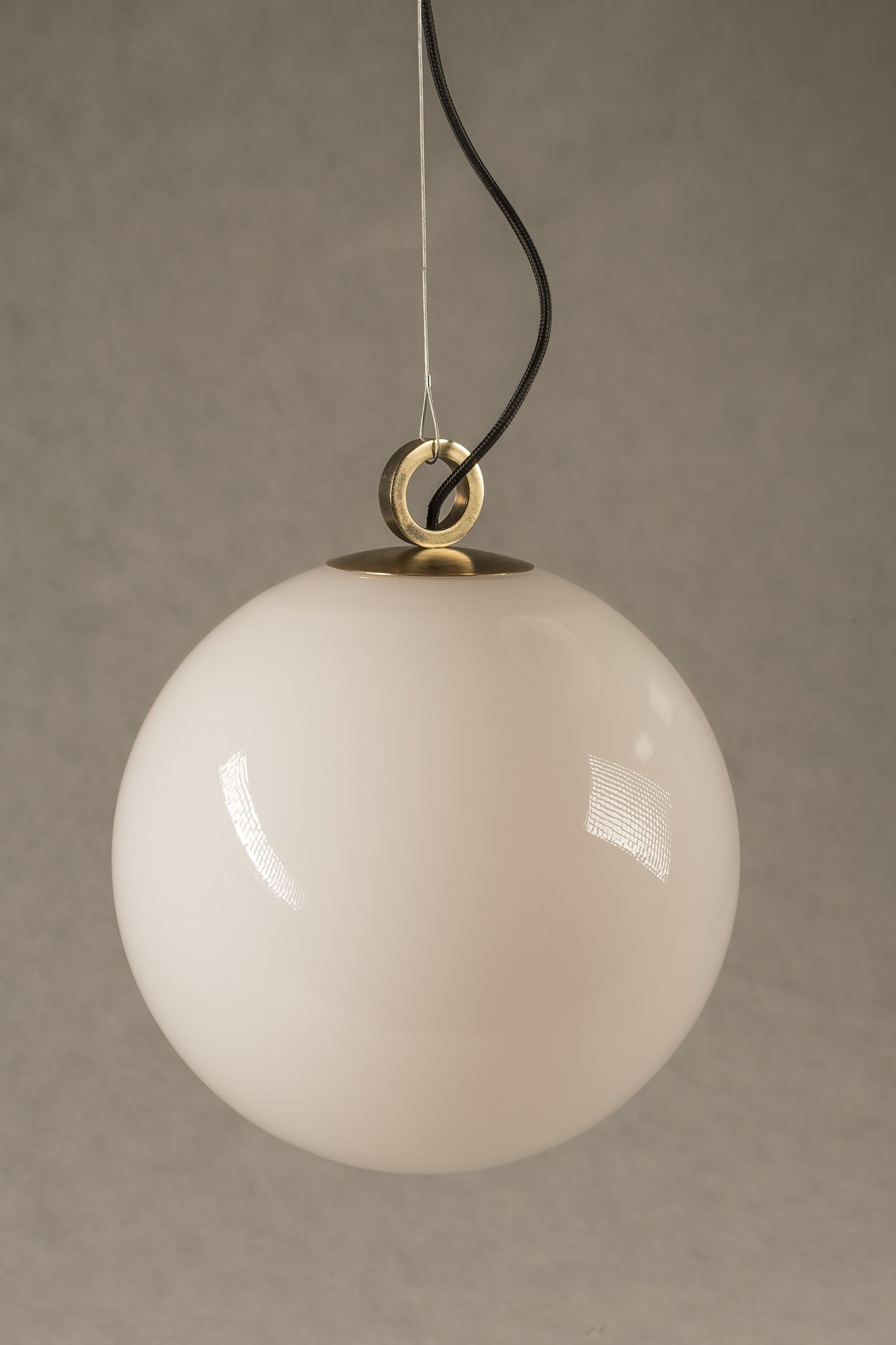 Pendant Lamp White Ball Lamp With Brass Top With Ring White Pendant Lamp Ball Lamps Handblown Glass Pendant