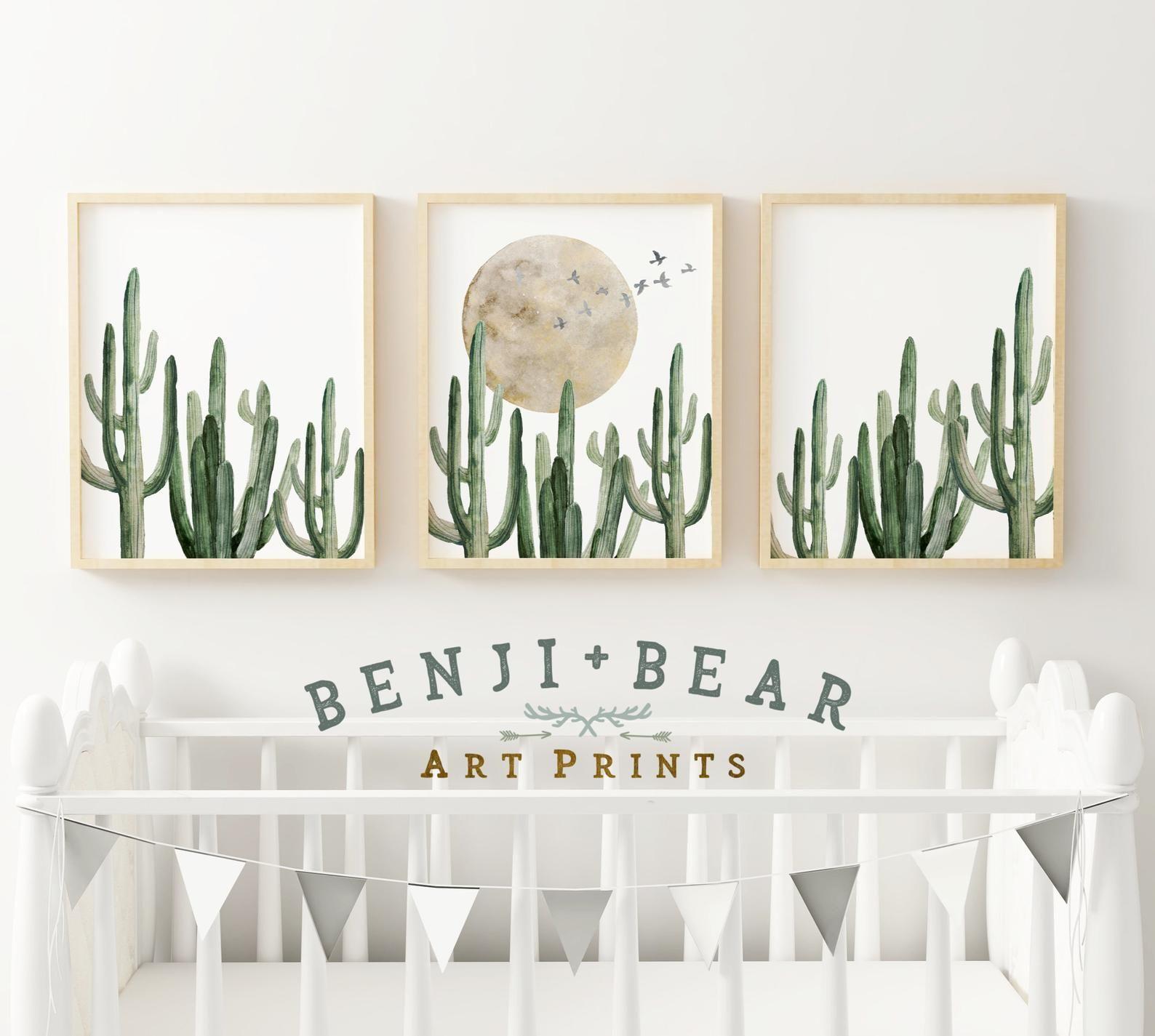 Cactus nursery prints cactus wall art cactus art print