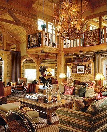 Rustic log home living room for Log cabin chandelier