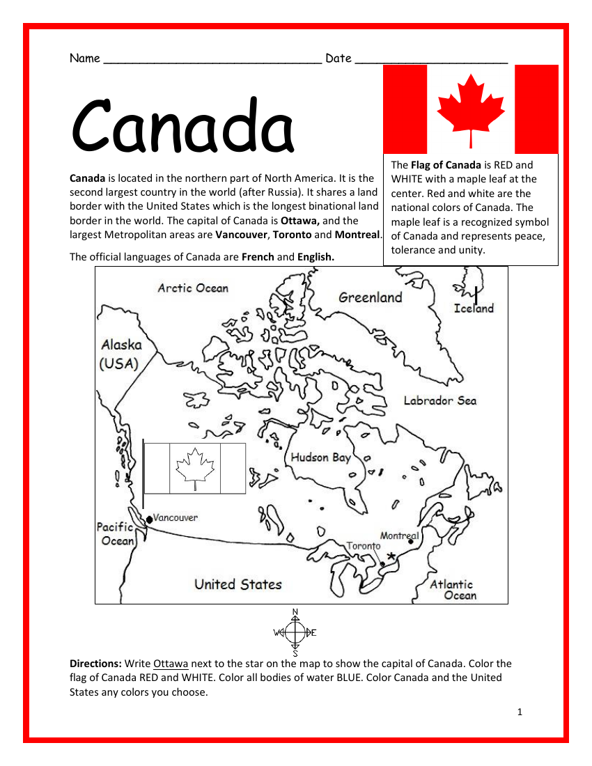 Canada Printable Handout With Map And Flag Teaching Resources Geography Worksheets Teaching Resources Maps For Kids [ 1100 x 850 Pixel ]