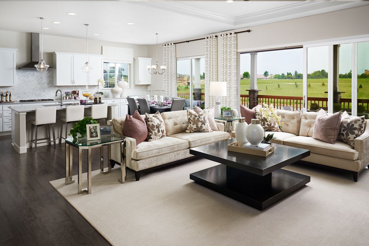 Open Concept Living Space At Its Best Daniel Model Home Great Room Kitchen And Covered Living Room Corner Decor Living Room Design Modern Living Room Decor