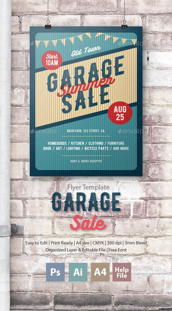 Garage Sale Flyer Poster Ai illustrator, Flyer template and Sale - For Sale Ad Template