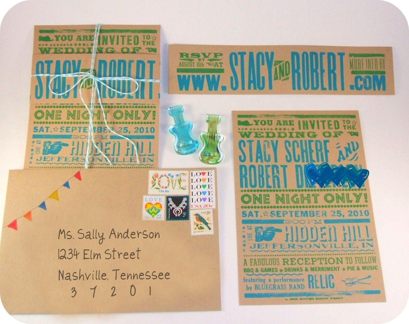 Whimsical Hatch Show Print Invite Suite