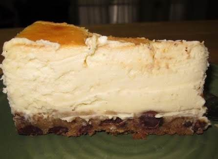 Cheesecake with chocolate chip cookie dough crust #chocolatechipcookiedough