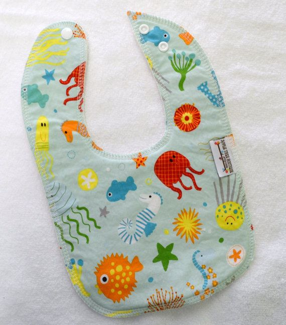In The Ocean Drooler Bib  Snap  Non wicking by appletreeboutique