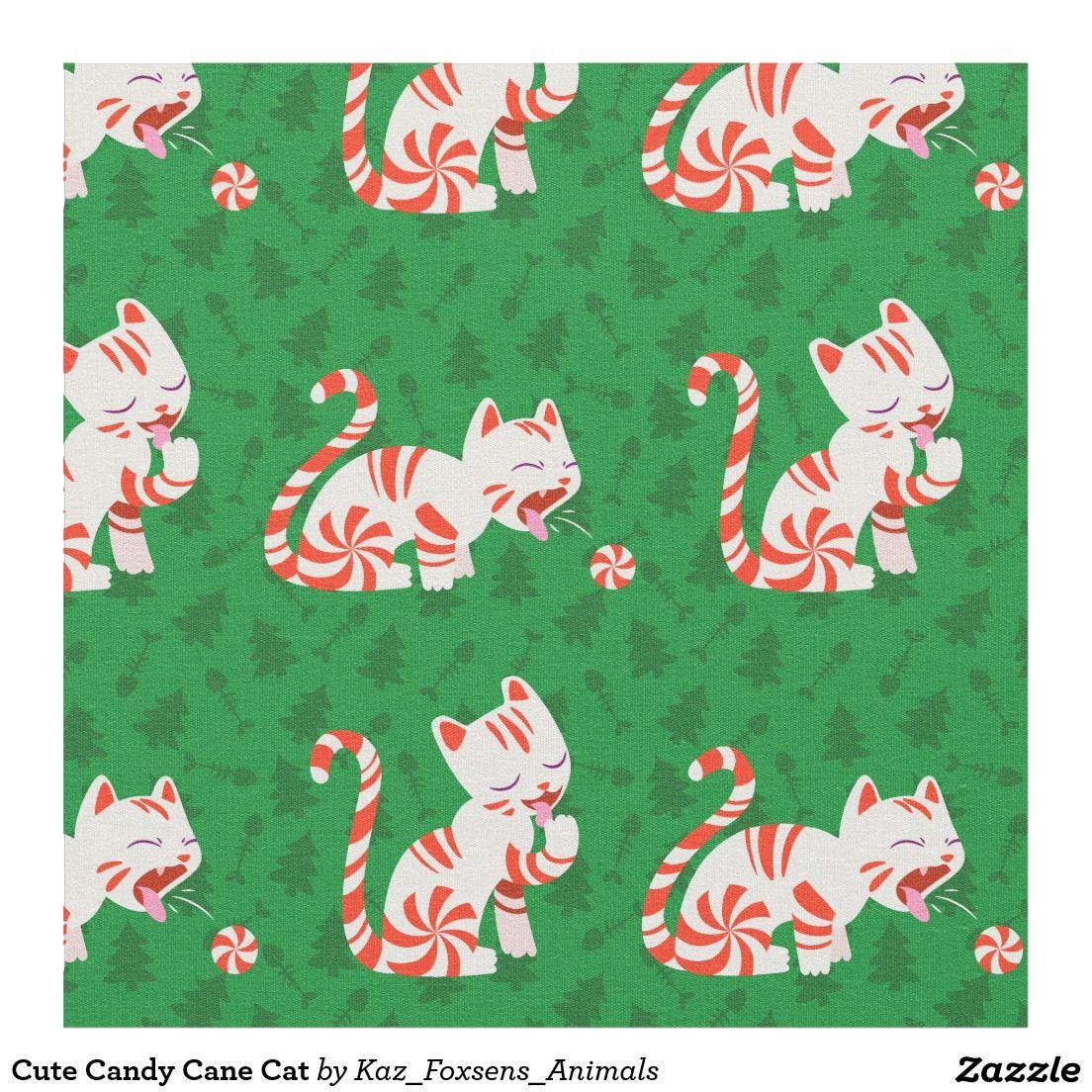 Cute Candy Cane Cat Fabric