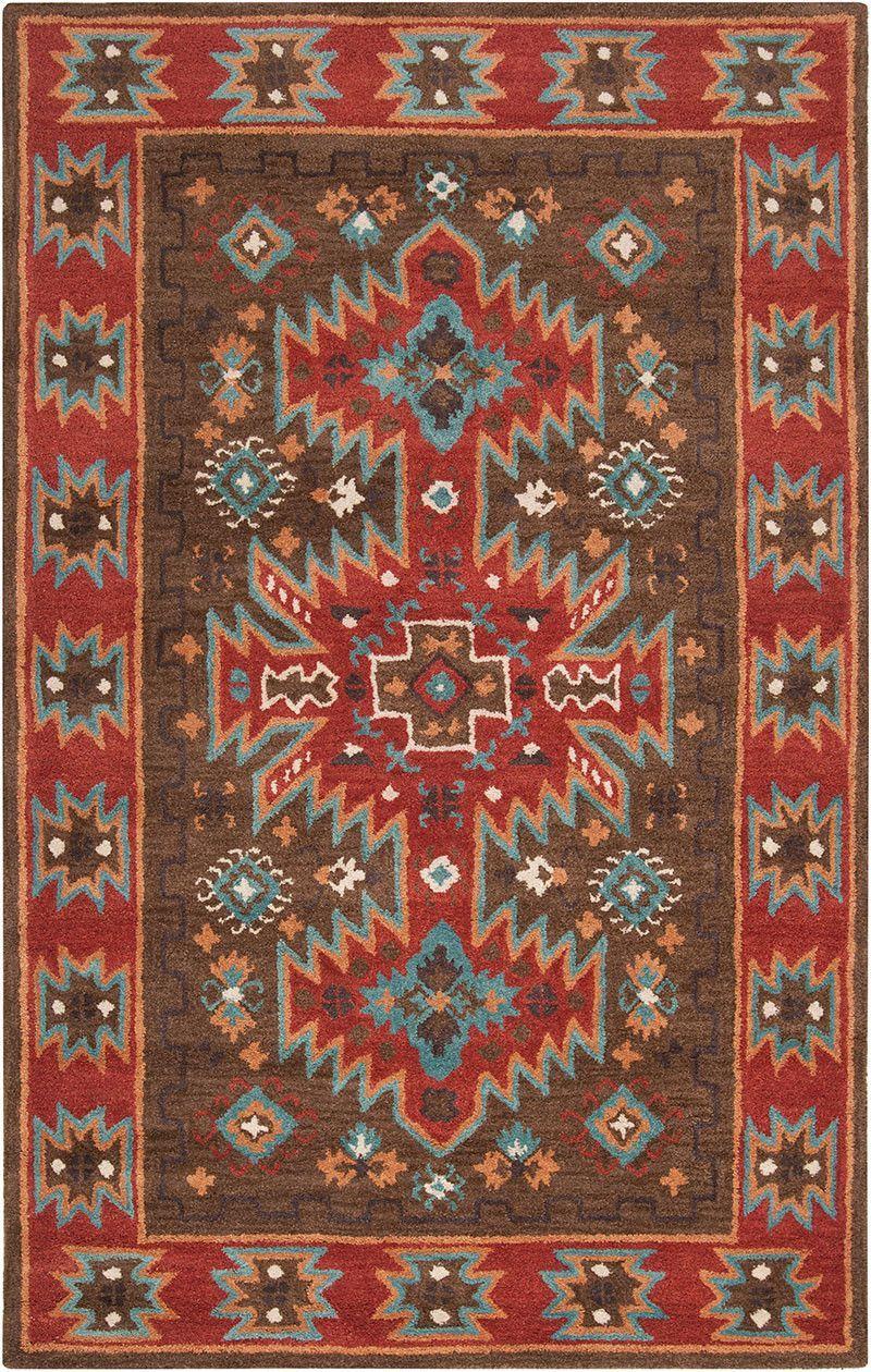 Arizona Chocolate Rust Area Rug Southwestern Rug Southwest Area Rugs Wool Area Rugs