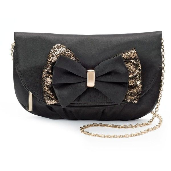 Lenore by La Regale Fold-Over Sequin Bow Clutch (140 QAR) ❤ liked on Polyvore featuring bags, handbags, clutches, black, bow purse, chain handbags, zipper handbag, foldover purse and sequin clutches