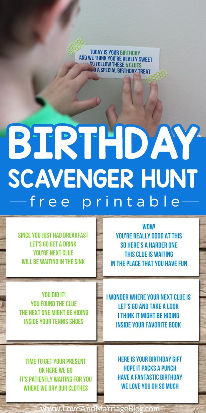 photo regarding Free Printable Birthday Party Games Adults called Birthday Scavenger Hunt Appreciate Romance The Web site