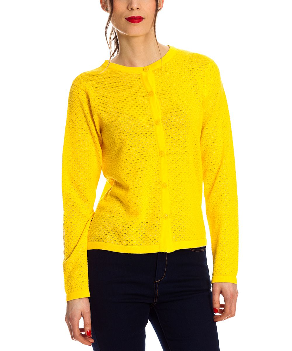 Yellow Button-Up Cardigan | Products | Pinterest