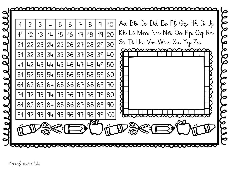 Tabla del 100 y abeceddario para pegar en la mesa de los