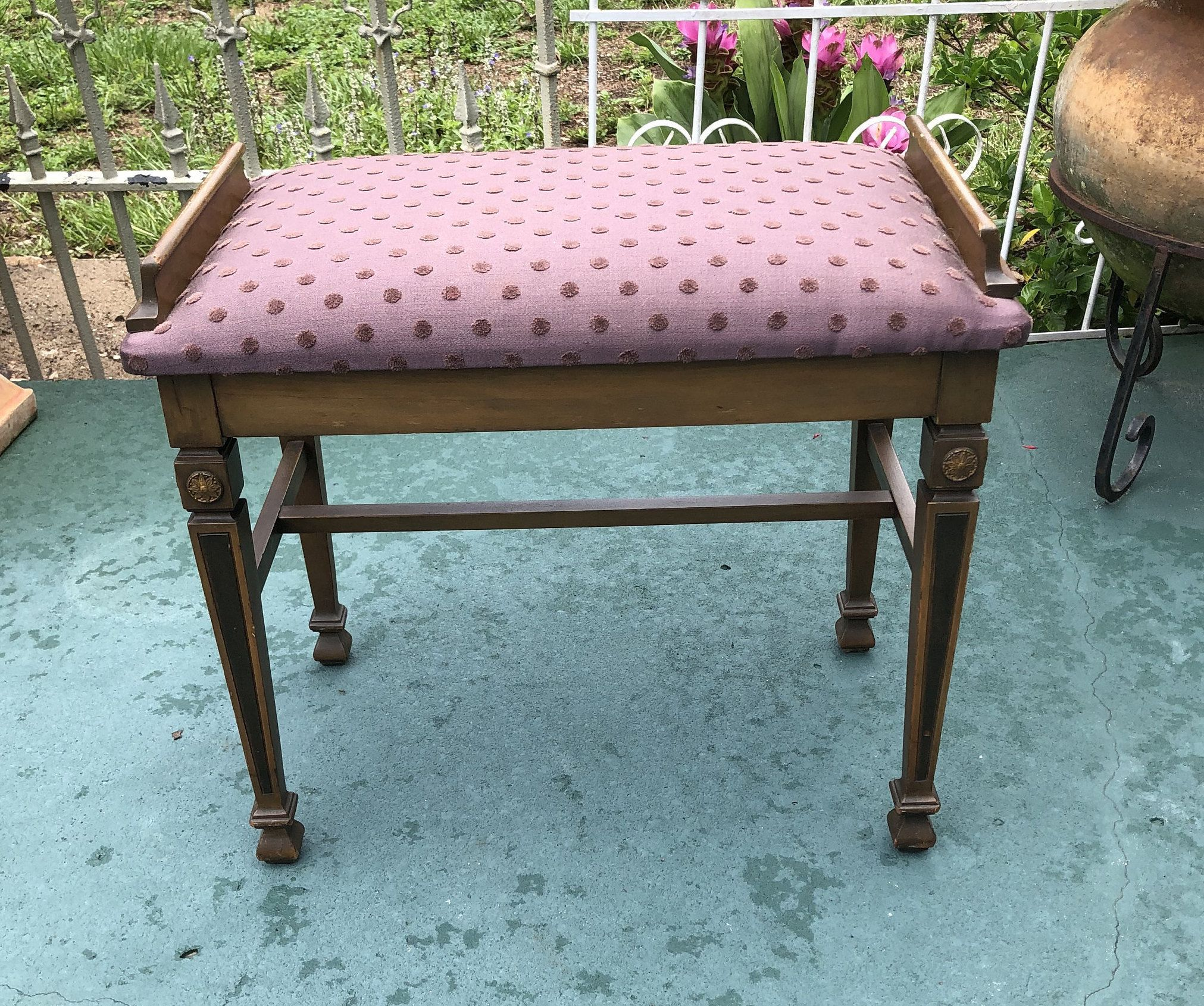 Antique Vanity Stool Piano Bench Upholstered Bench Wood Frame