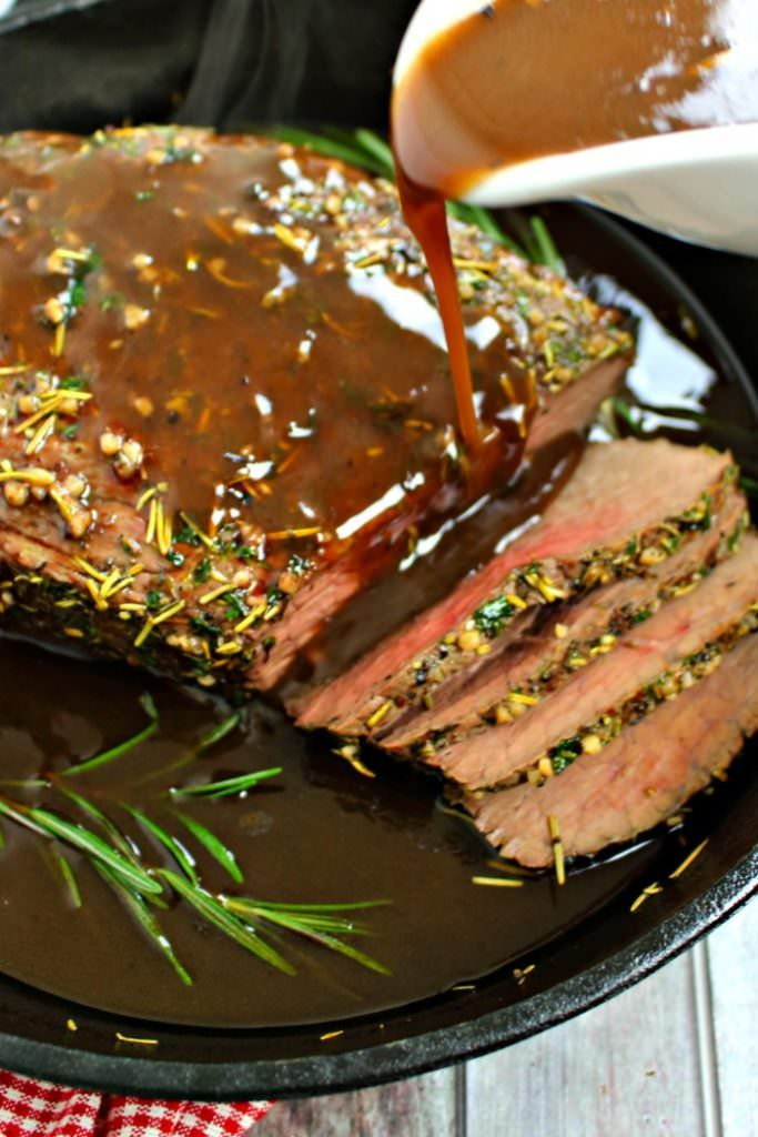 this garlic herb roast beef is fancy enough for your christmas dinner and simple enough