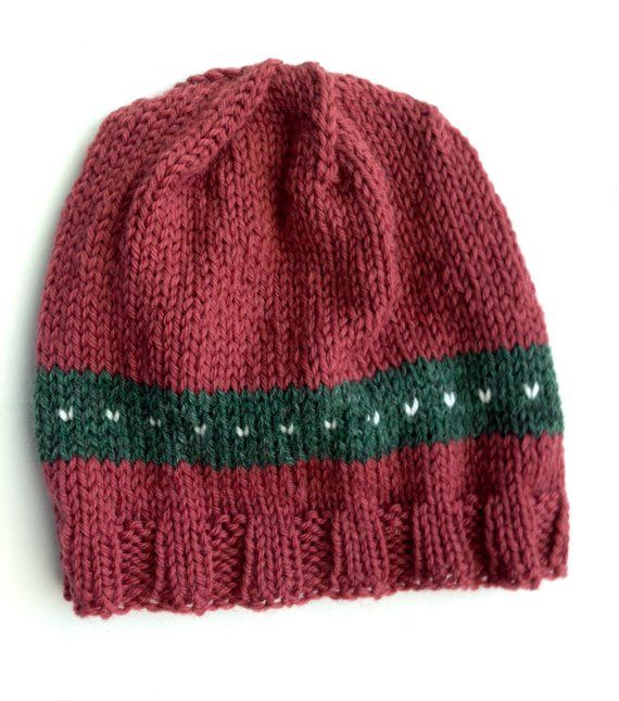 8e921b5dbf3 Dark Rose Handknit Wool Hat Cap for Child Teen. With Green and White  Decoration. OOAK
