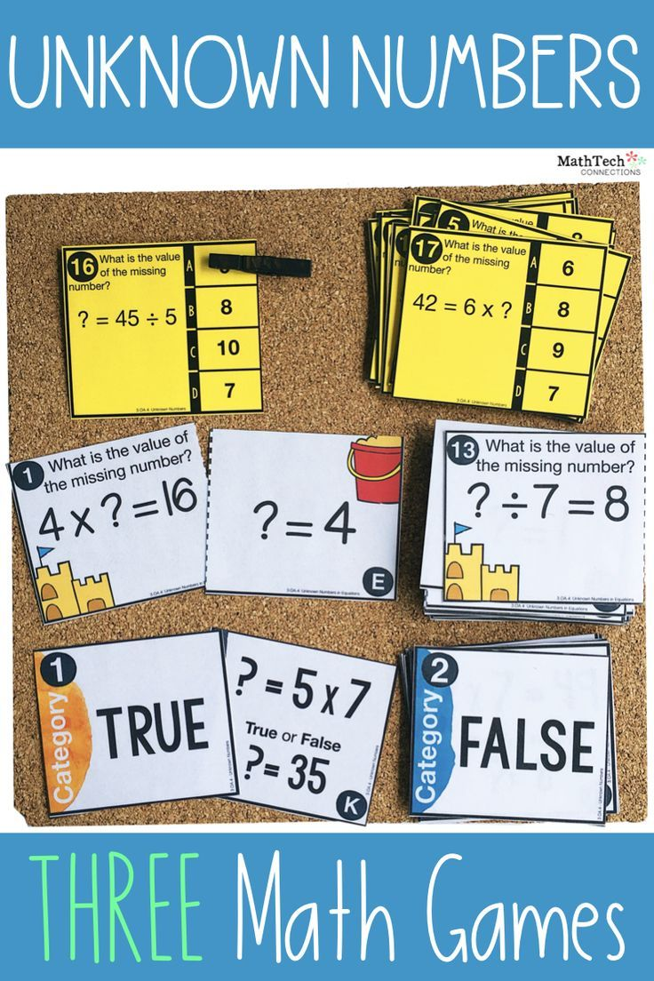 3rd Unknown Numbers in Equations Centers Math Games