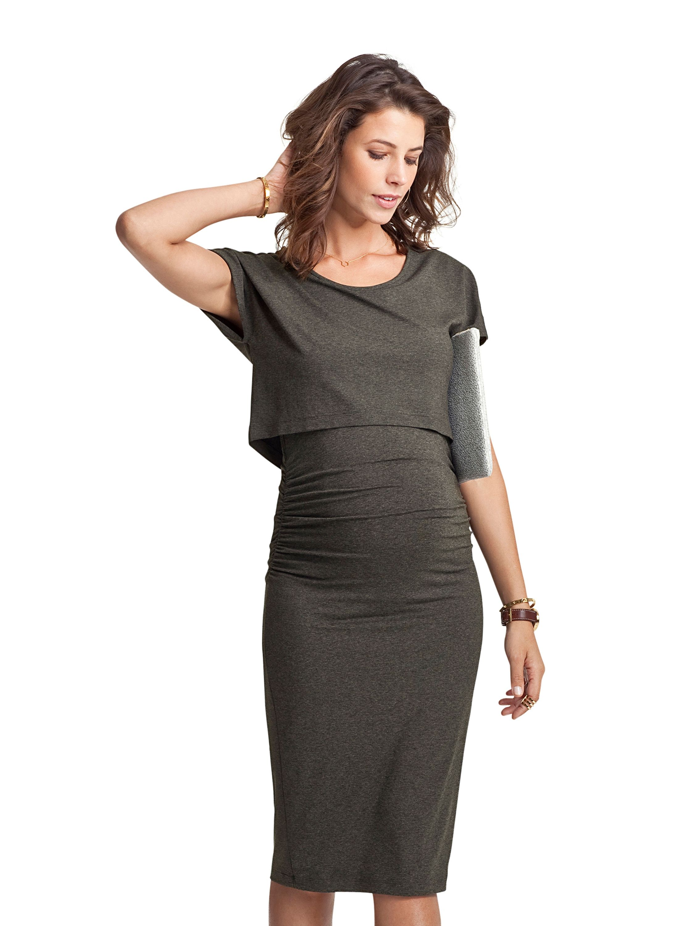 9f97cc9b110f1 Argyle Maternity Dress in Grey | Isabella Oliver US | Mommy Couture ...