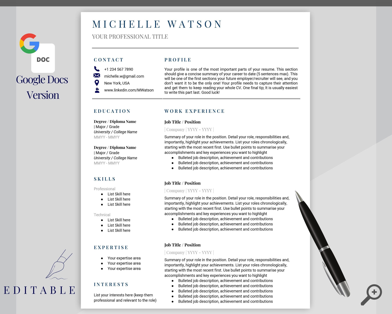 Google Docs RESUME TEMPLATE. CV template free