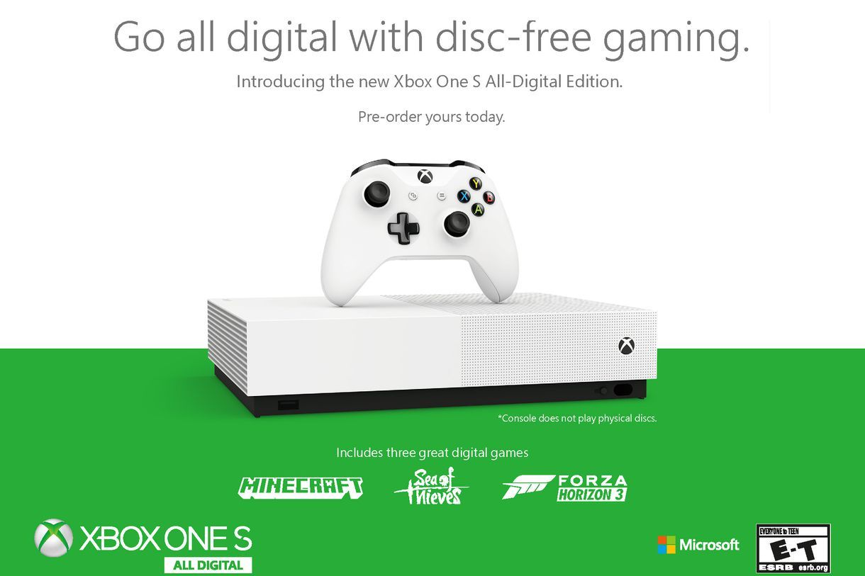 Microsoft Unveils Disc Less Xbox One S All Digital Edition For 249 With Images Xbox One Xbox One S Xbox