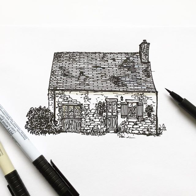Another French Cottage Sketch Sketchbook Illustration