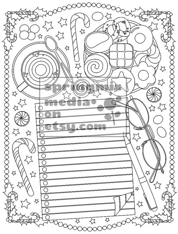 christmas coloring page christmas treats holiday coloring book adult coloring page xmas santas list