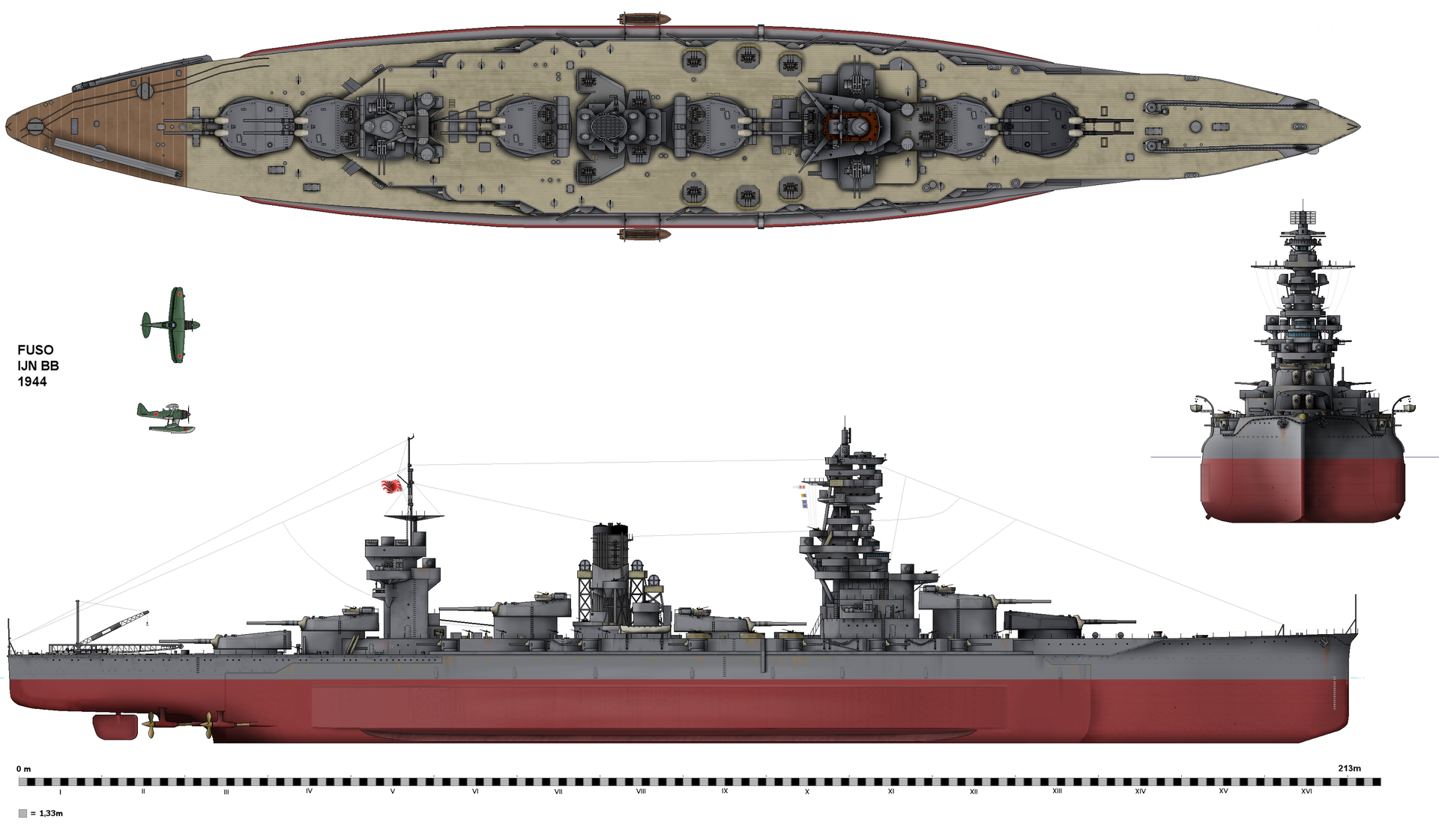 Line drawing of Fuso as she appeared in 1944 | Projects to