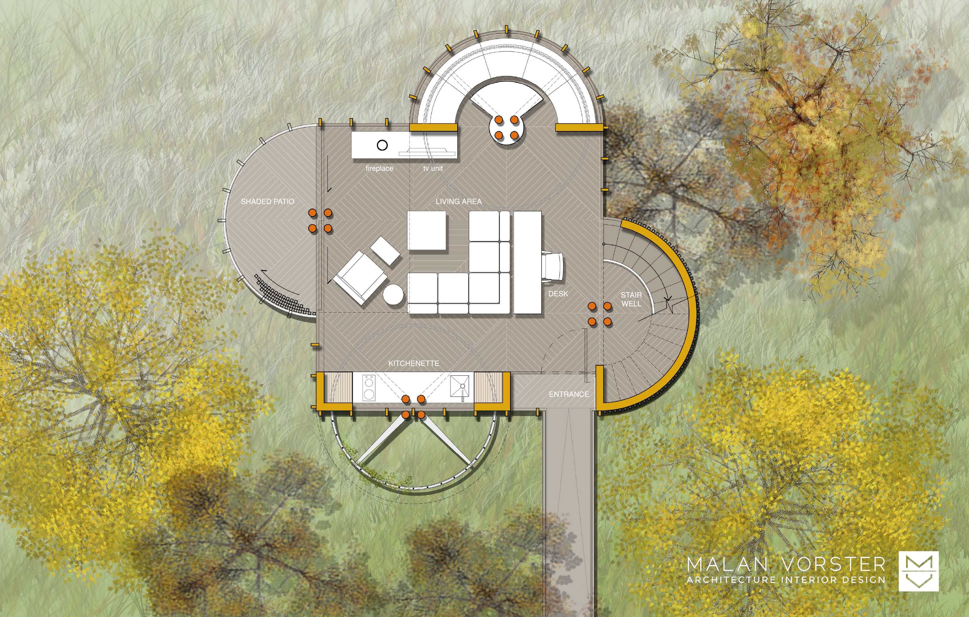 LIVING LEVEL PLAN Malan Vorster Architecture Interior Design Will - Art barn a romantic green house by robert young connecticut usa
