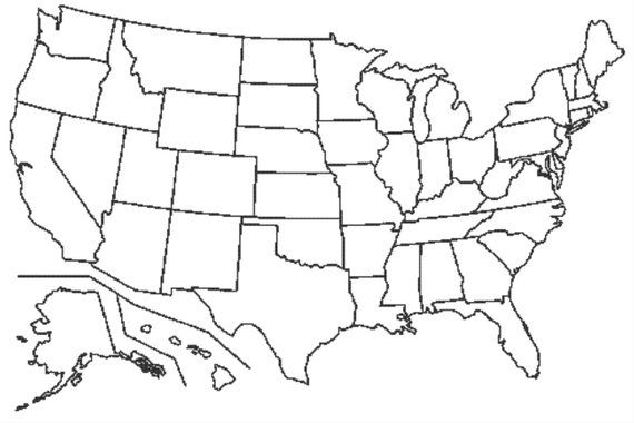 Visited States Map -- Fill It In As You Travel --- United ...