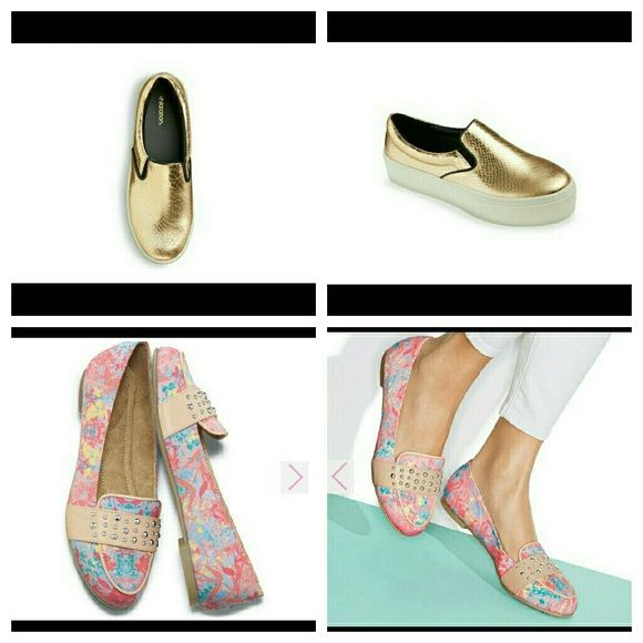 Beautiful stylish comfort in two styles.(New) Floral print flats man made material. Platform flats metallic gold.  Man made and leather balance. I will reduce bundle to $45 for $1.99 shipping tonight. Shoes
