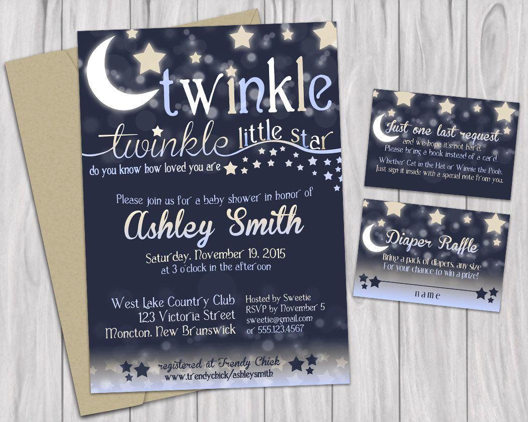 jungle theme baby shower invitation sayings%0A Twinkle Little Star Baby Shower Printable Invitations Book