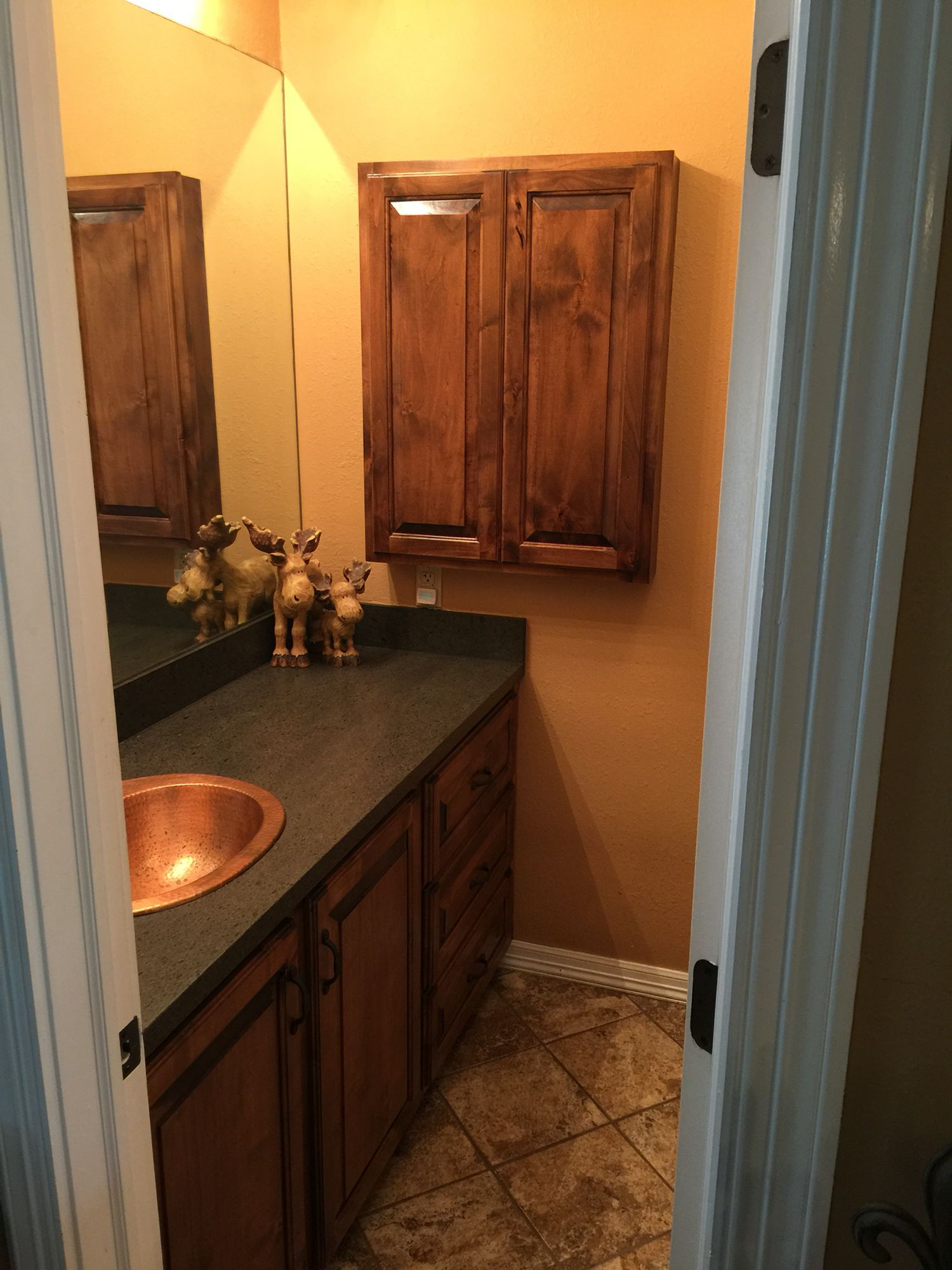 Custom bathroom vanity and matching medicine cabinet Wood Knotty